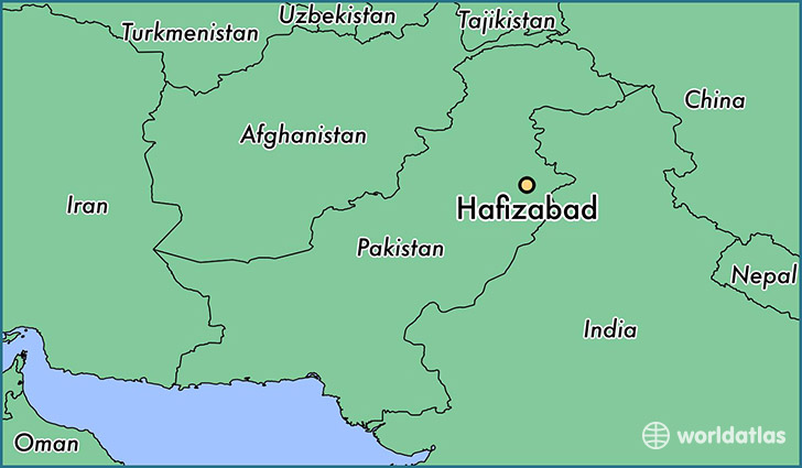map showing the location of Hafizabad