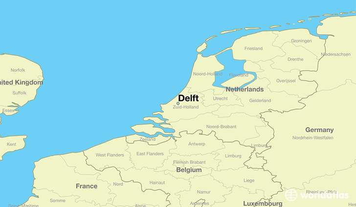 Where is Delft The Netherlands Delft South Holland Map