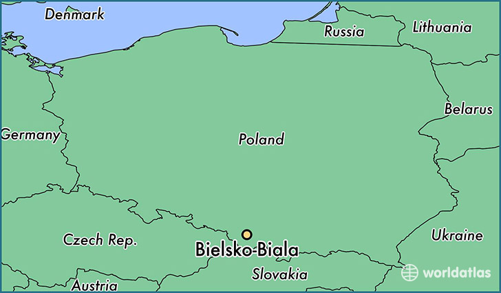 map showing the location of Bielsko-Biala