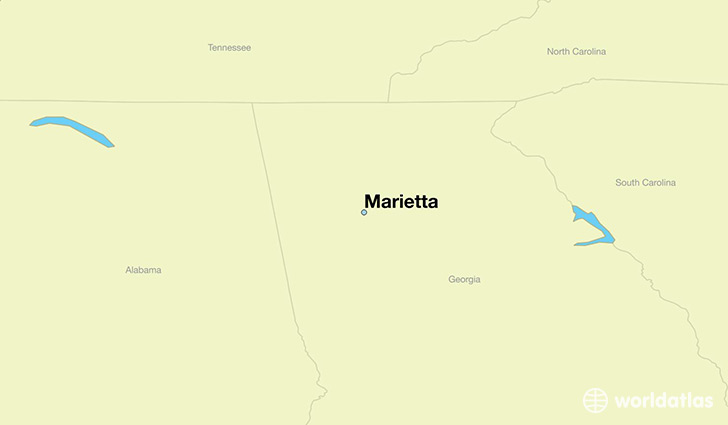 map showing the location of Marietta