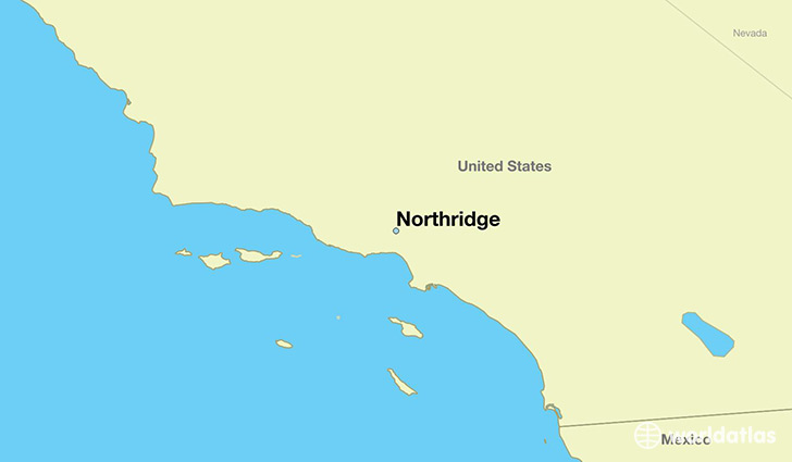 map showing the location of Northridge