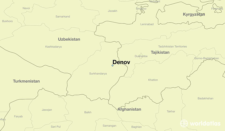 map showing the location of Denov