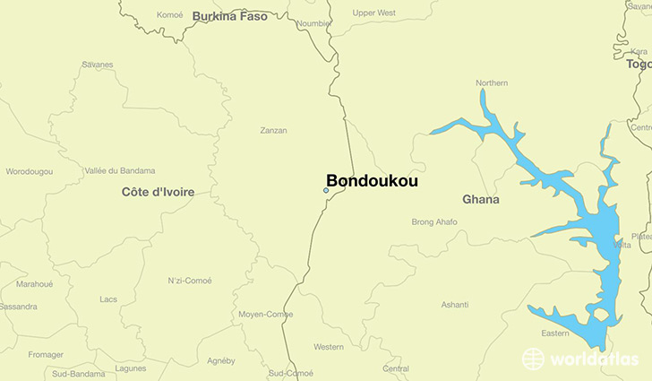 map showing the location of Bondoukou