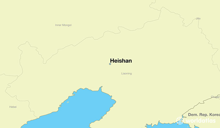 map showing the location of Heishan