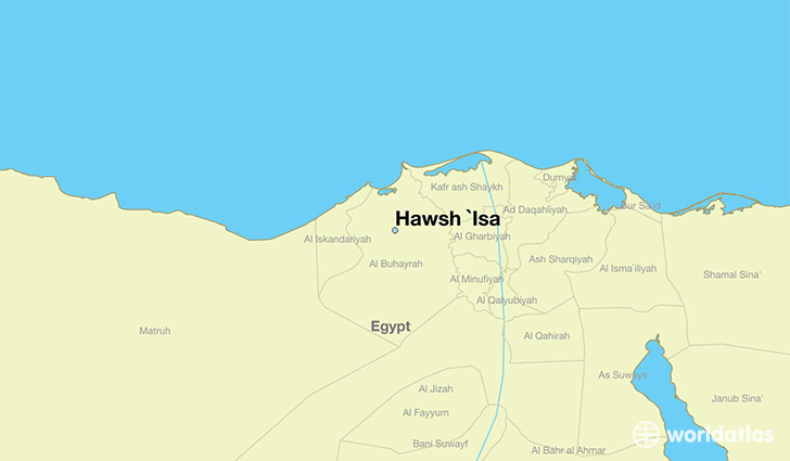 map showing the location of Hawsh `Isa
