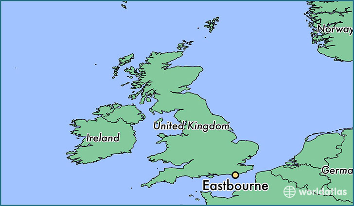 map showing the location of Eastbourne