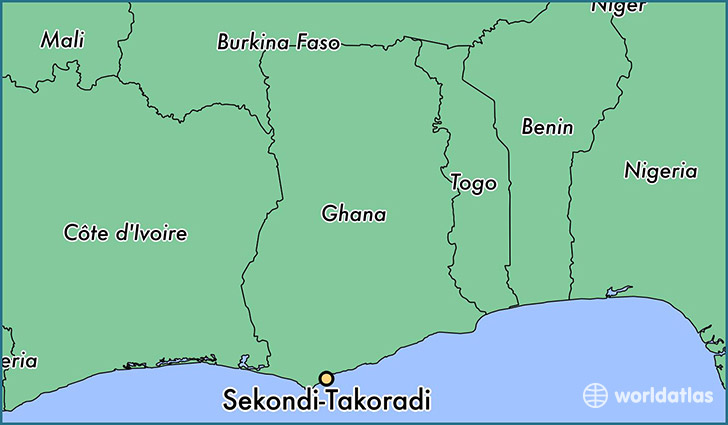 map showing the location of Sekondi-Takoradi