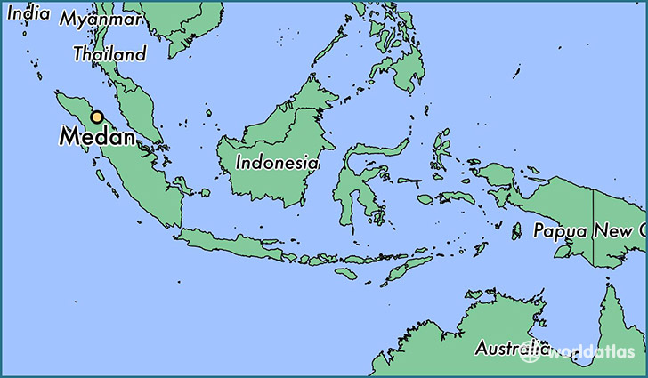 map showing the location of Medan