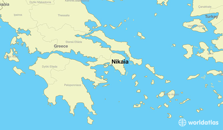 map showing the location of Nikaia