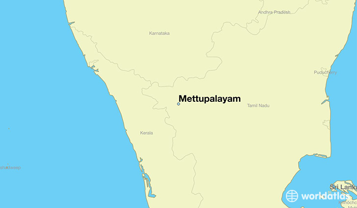 map showing the location of Mettupalayam