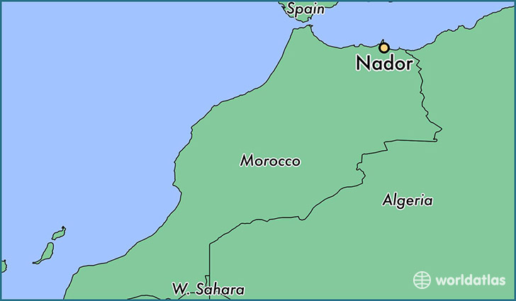 map showing the location of Nador
