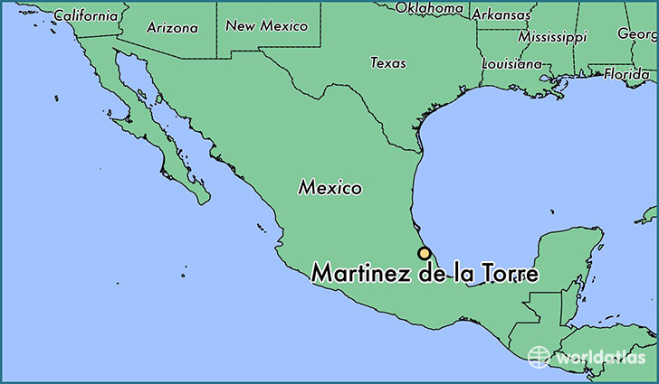 map showing the location of Martinez de la Torre