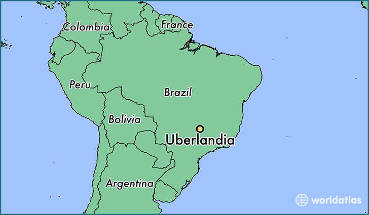 map showing the location of Uberlandia