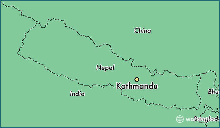 map showing the location of Kathmandu