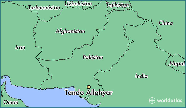 map showing the location of Tando Allahyar
