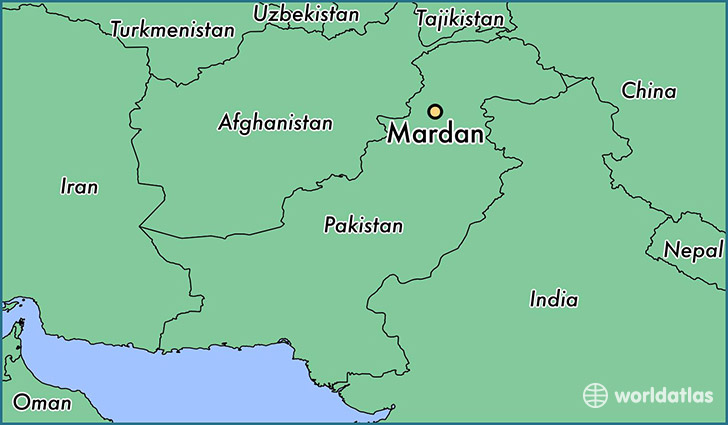 map showing the location of Mardan