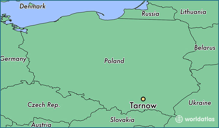 map showing the location of Tarnow