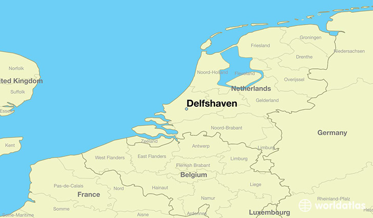 map showing the location of Delfshaven