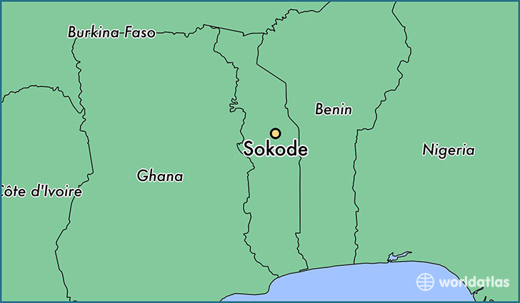 map showing the location of Sokode