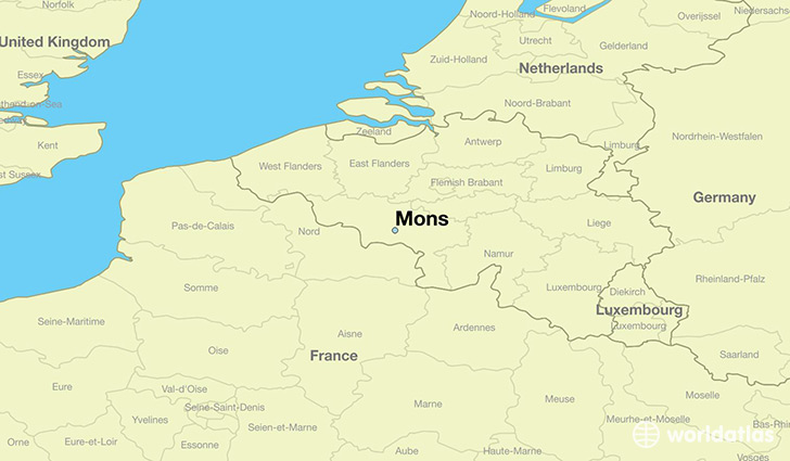 map showing the location of Mons