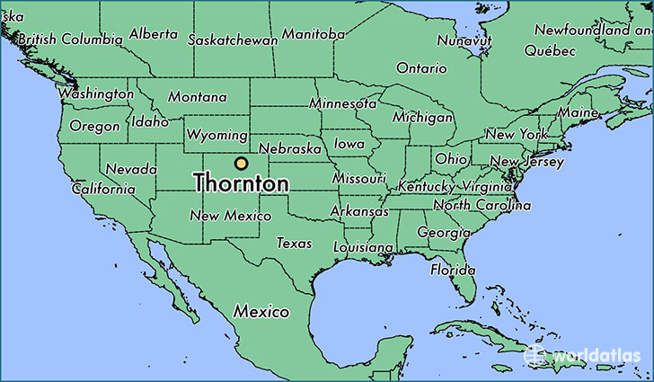 map showing the location of Thornton