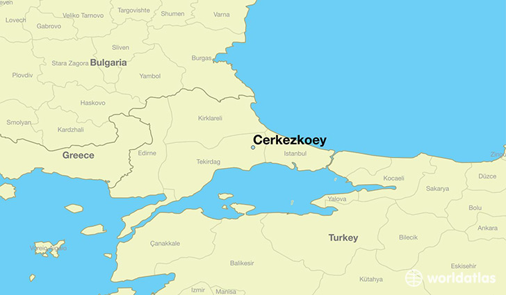 map showing the location of Cerkezkoey