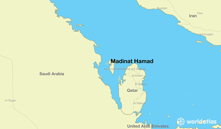 map showing the location of Madinat Hamad