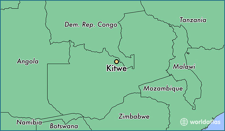 map showing the location of Kitwe
