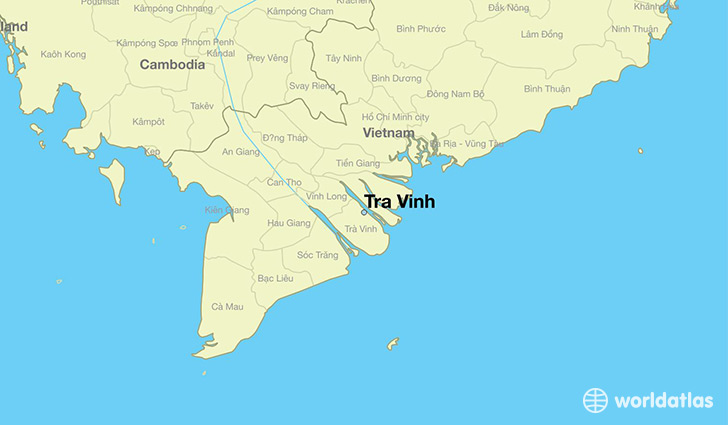 map showing the location of Tra Vinh
