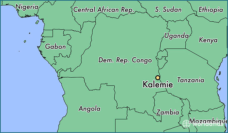 map showing the location of Kalemie