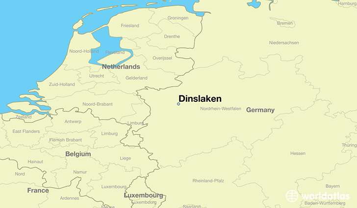 map showing the location of Dinslaken