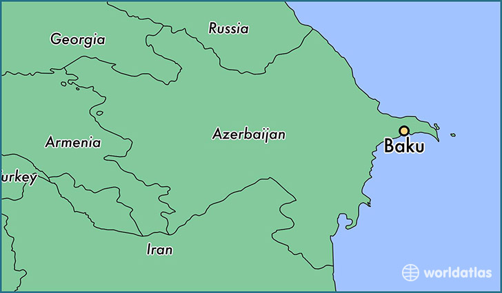 map showing the location of Baku
