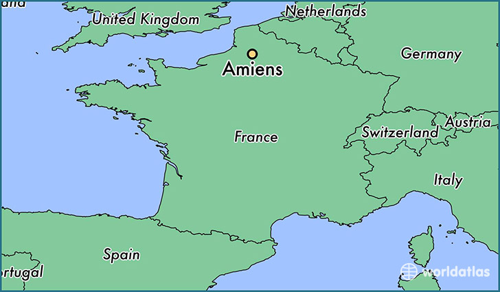 map showing the location of Amiens