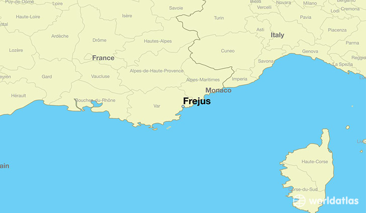 map showing the location of Frejus