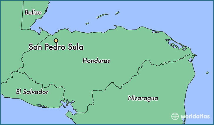 map showing the location of San Pedro Sula