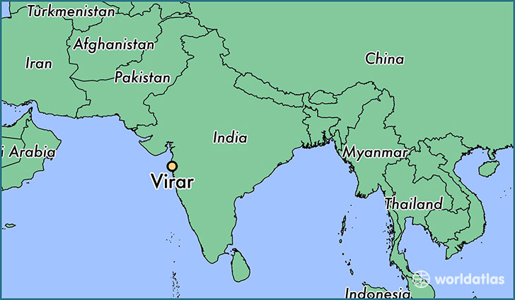 map showing the location of Virar