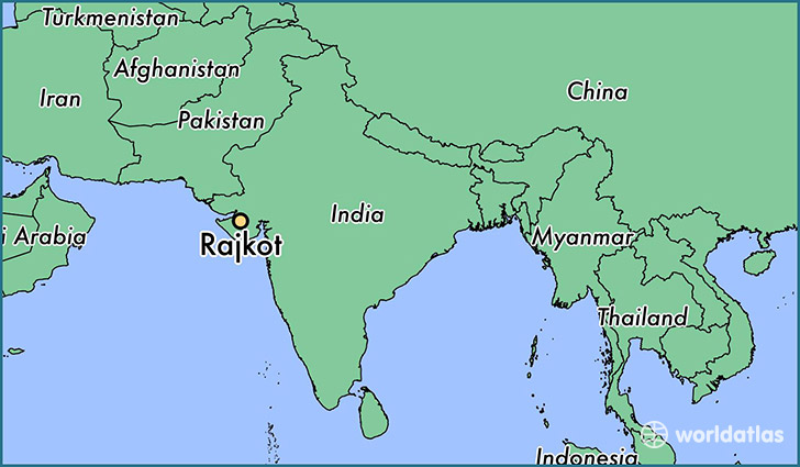 map showing the location of Rajkot