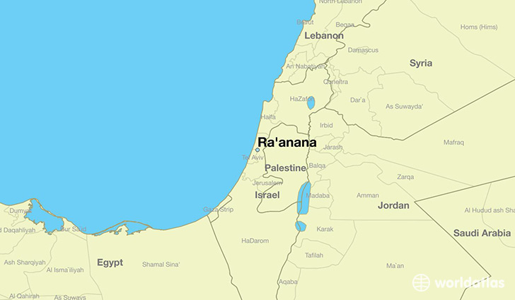 map showing the location of Ra'anana