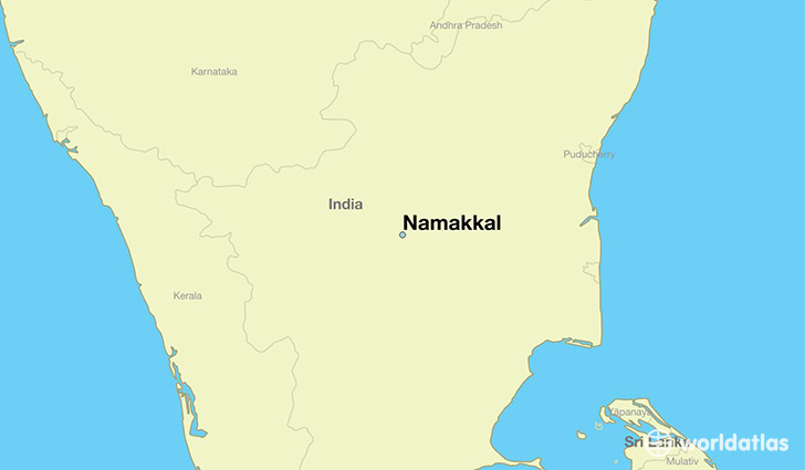 map showing the location of Namakkal