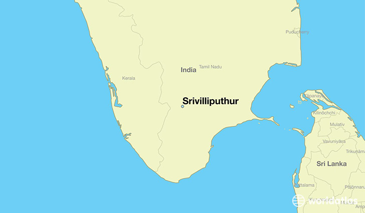 map showing the location of Srivilliputhur