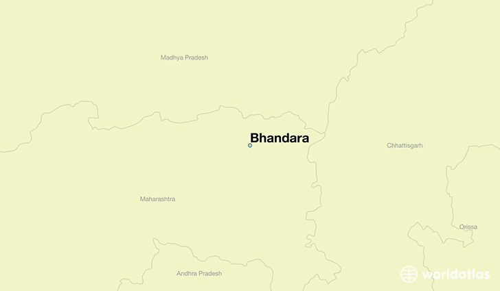 map showing the location of Bhandara
