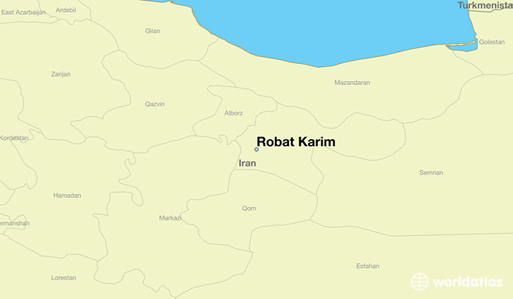 map showing the location of Robat Karim