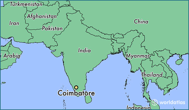 map showing the location of Coimbatore