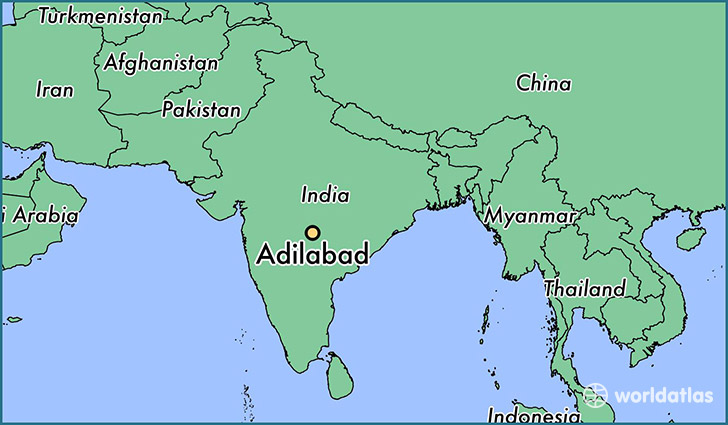 map showing the location of Adilabad