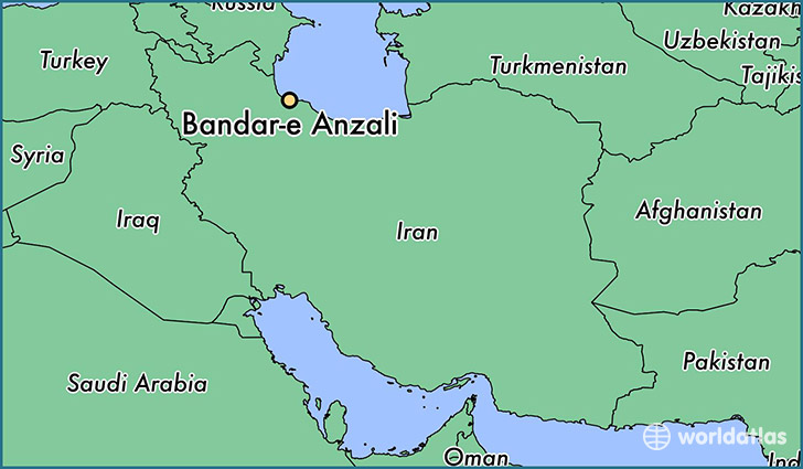 map showing the location of Bandar-e Anzali