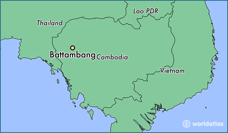 map showing the location of Battambang