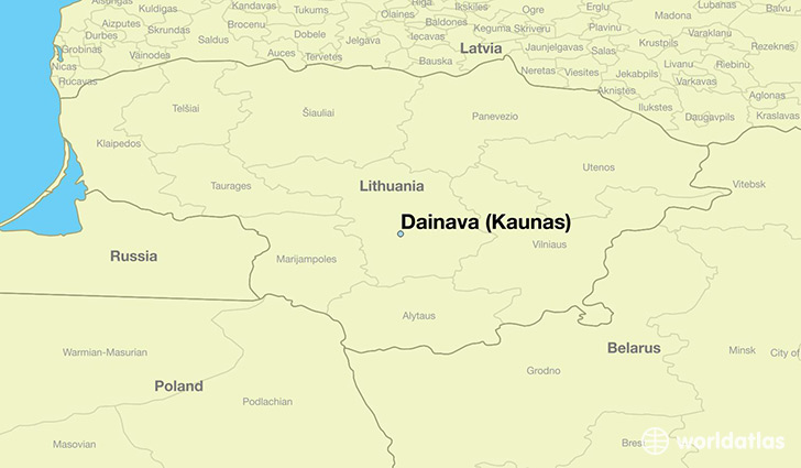 map showing the location of Dainava (Kaunas)