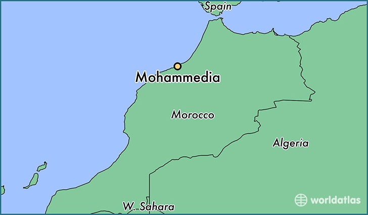 map showing the location of Mohammedia