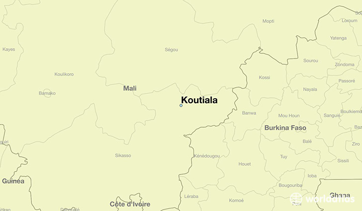 map showing the location of Koutiala