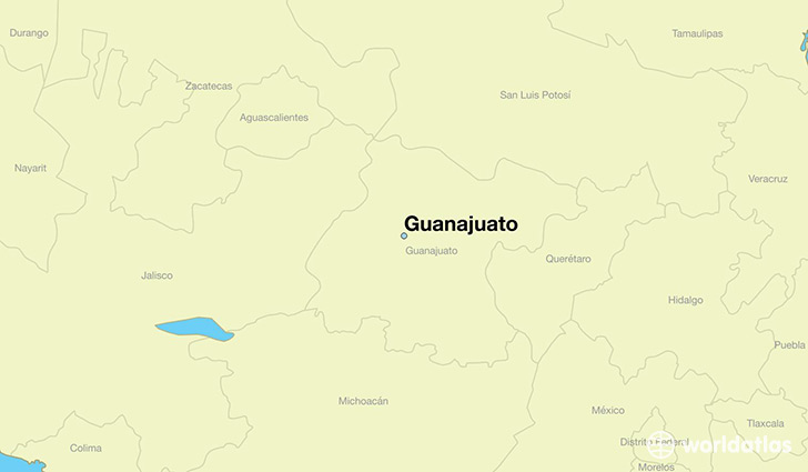 map showing the location of Guanajuato